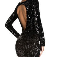 Black Sequins Backless Mini Dress