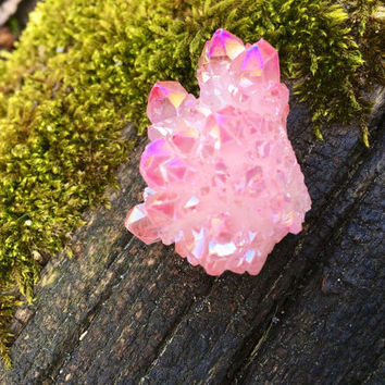 Pastel Pink Angel Aura Quartz Cluster Druzy Crystal Point
