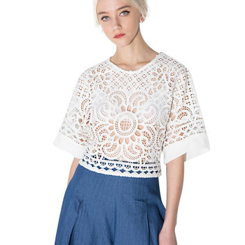 White Back Cut Out Crochet Lace T-shirt