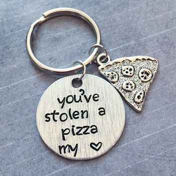 You've Stolen A Pizza My Heart Keychain - Pizza Keyrings - Pizza Accessories - Pizza Lover Accessories- Food Accessories