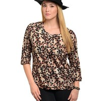 Poshed Apparel — Plus Size Leopard Cotton Print Top