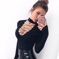 Women Fashion Hollow Deep V-Neck Crisscross Bandage Long Sleeve Solid Color  Bodysuit Jumpsuit