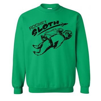 Rocket SLOTH Sweater Flex Fleece Pullover Classic Sweatshirt - S M L Xl and Xxl (10 Color Options)