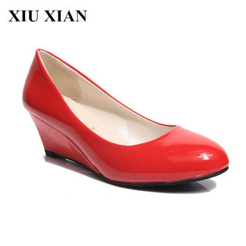 High Quality New Nurses Work Platforom Shoes Women Black Wedges 5cm High Heel Shoes Increased Women Shoes Pumps Office Size35-40