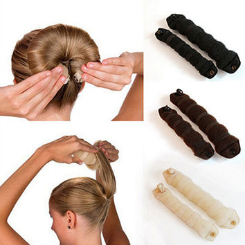 New Women Ladies Magic Style Hair Styling Tools Buns Braiders Curling Headwear Hair Rope Hair Band Accessories Fashion Design