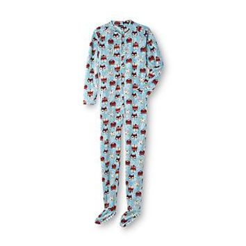 Joe Boxer Women's Fleece Footed Pajamas - Foxes - Clothing, Shoes & Jewelry - Clothing - Women's Clothing - Intimates & Sleepwear - Women's Sleepwear & Robes - Women's Regular Sleepwear & Robes