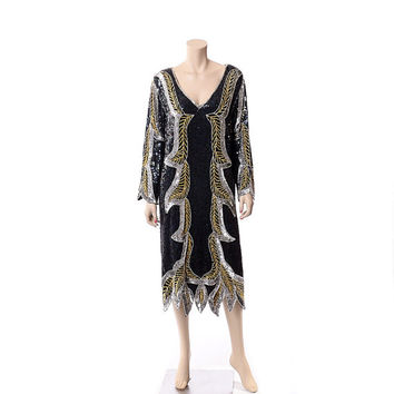Vintage 80s Silk Art Deco Sequin Dress 1980s Black Beaded Flapper Draped New Wave Glam Cocktail Party Dress / L to XL