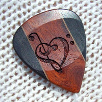 Custom Treble and Bass Clef Heart - Handmade Exotic Wood Premium Guitar Pick