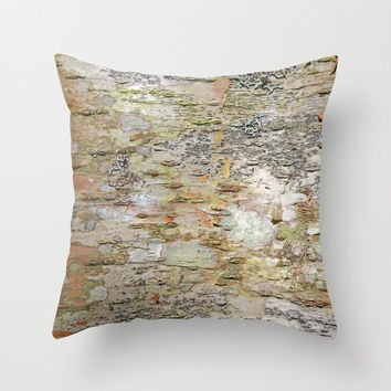 Tree Bark - Mint, Green, Apricot, Salmon, Gray, Beige - Throw Pillow Cover - Adirondack – Earthy