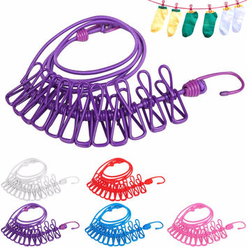 Hotselling 185cm 12pcs Portable Multifunctional Drying Rack Clips Cloth Hangers Steel Clothes Line Pegs Clothespins New -35