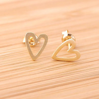 Open heart stud earrings with gold by bythecoco on Etsy