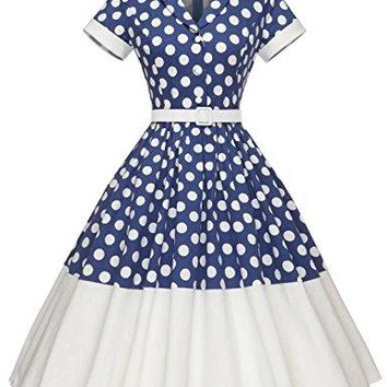 AUGUAU GownTown Women1950s Printed -Dot-Floral Splicing Party Swing Dress