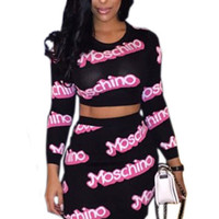 Moschino Print Long Sleeve Skirt Set