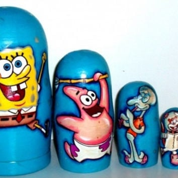 Sponge Bob matreshka traditional Russian toy nesting doll made curved painted hand collectible decorative souvenir holiday birthday gift
