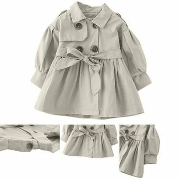 Kids Toddler Baby Girls Winter Trench Coat Jacket Outerwear Windbreaker Clothes
