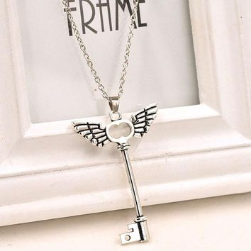Angel wings Key Friendship Pendant Long Chain Silver Necklace Jewelry