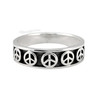 Peace Symbols Sterling Silver Ring on Sale for $15.99 at HippieShop.com