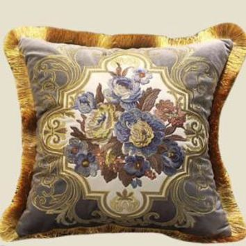 "Gray Blue Float Flower Pillow Embellished With Trim 20""X20"""