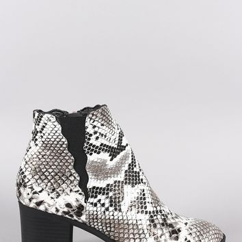 Qupid Snake Almond Toe Scallop Elastic Gore Chunky Heeled Booties