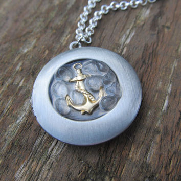 Small Nautical Anchor Locket Necklace