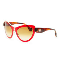 Cat-Eye Sunglasses, Red/Rose Gold - Balenciaga - Brown/Red