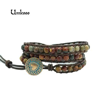 2018 New Triple Leather Wrap Bracelet for Women Picasso Stone Handmade Multilayer Beaded Leather Rope Jewelry