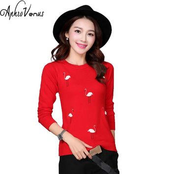 Christmas SweaterWinter Sweater Women Pullover Swan Embroidery Sweater Ladies O-neck Sweater Long Sleeve Knitted Sweater Ponchos