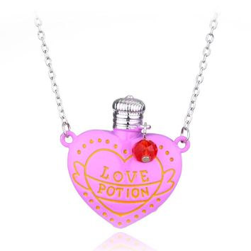 New Popular Two Colors Love Potion Heart Bottle Necklace Silver Plated Movir Jewelry Necklace Kolye Women's Fashion Accessories