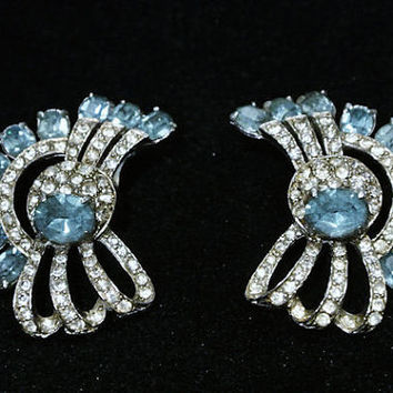 Wiesner Earrings Joseph Wiesner NY Clip On Earrings 1950s 50s  Mid Century Hollywood Aquamarine Crystal Rhinestones Art Deco Revival Wedding