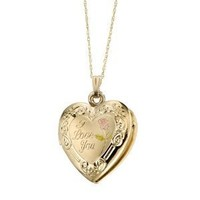 "14k Yellow Gold ""I Love You"" Heart Locket Necklace, 18"""
