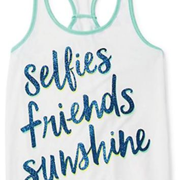 Justice Girl's 'SELFIES, FRIENDS & SUNSHINE' Tied in Knots Tank Top Size 12 NWT