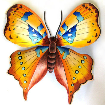 "Gold Butterfly Metal Wall Decor- 21"" Hand Painted Garden Art - Recycled Steel Drums - 513-21-GL"