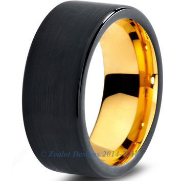 8mm 18k Yellow Gold Plated Tungsten Brushed Black Pipe Cut