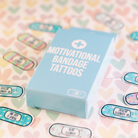 15 Motivational Band-Aid Tattoos ~ Cute Pastel Box of Bandages! ~ Temporary Tattoo Pack ~ Self Care ~ Self Love ~ Kawaii ~ Easter Gifts