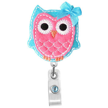 Cute Pink Blue Bow Owl-Badge Holder - Nurses Badge Holder - Cute Badge Reels - Unique ID Badge Holder - Felt Badge - RN Badge Reel