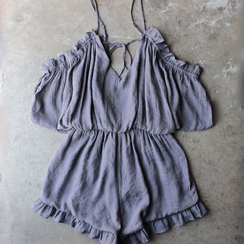 crinkled peek a boo shoulder romper with ruffle hem in ash