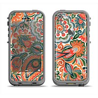 The Vintage Hand-Painted Coral Abstract Pattern Apple iPhone 5c LifeProof Fre Case Skin Set