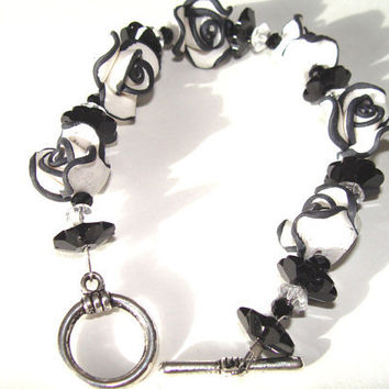 Black And White Beaded Bracelet White With Black Polymer Clay Flower Beads Czech Black Glass BEads