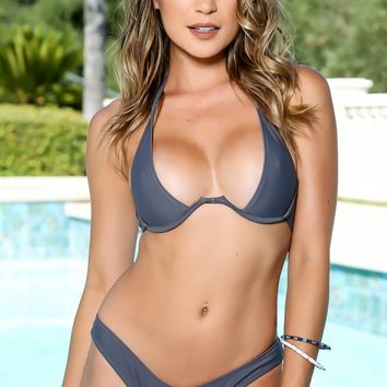 Sexy Charcoal Low Cut Push Up Two Piece Swim Suit
