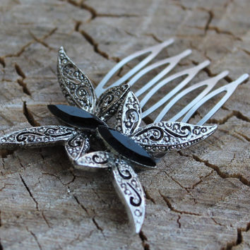 Vintage Silver and Black Onyx Butterfly Hair Comb