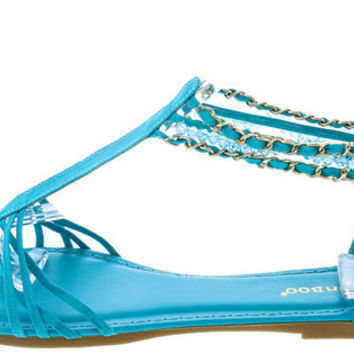 DINO49 TURQUOISE T-STRAP BEADED ANKLE SANDAL