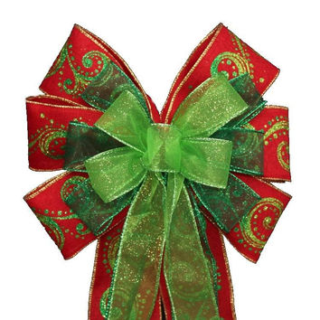Emerald Lime Green Glitter Swirl Red Christmas Bow