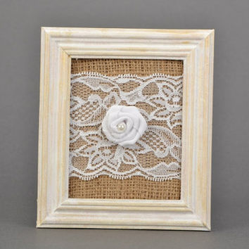 White wooden frame with burlap and rose Wall panel Burlap wall panel Fabric rose Wall hanging with rose Burlap panel Burlap wall decor