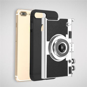 Retro 3D Camera Design Phone Cases For iPhone 7 6 6s Plus 5 5s SE Case Novel 2 in 1 Soft Silicone + PC Back Cover With Lanyard