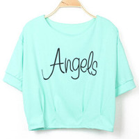 Green Angels Print Short Sleeve Cropped Graphic T-Shirt