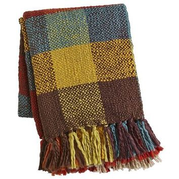 Colorblock Plaid Knit Throw
