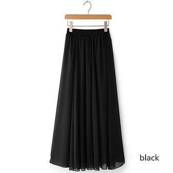 DCCKON3 Women chiffon long skirt candy color pleated Women skirtsskirts in floor 100%cm length 19colors long saia