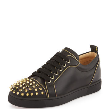 Rush Studded Leather Sneaker, Black