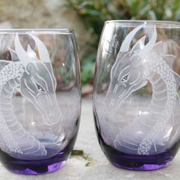 Hand engraved glass  dragon stemless wine glasses , wine glass,  wine tumbler  , host hostess gift ideas custom glassware barware stemware