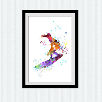 Surfing poster Surf decor print Watercolor sport poster Colorful sport illustration Home decoration Kids room wall art Wall decor W364